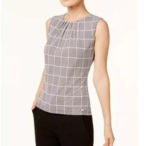 Calvin Klein Petite Sleeveless Pleated Top size S